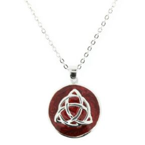 Celtic Trinity Knot Silver Plated Round Pendant with Red Enamel 9887